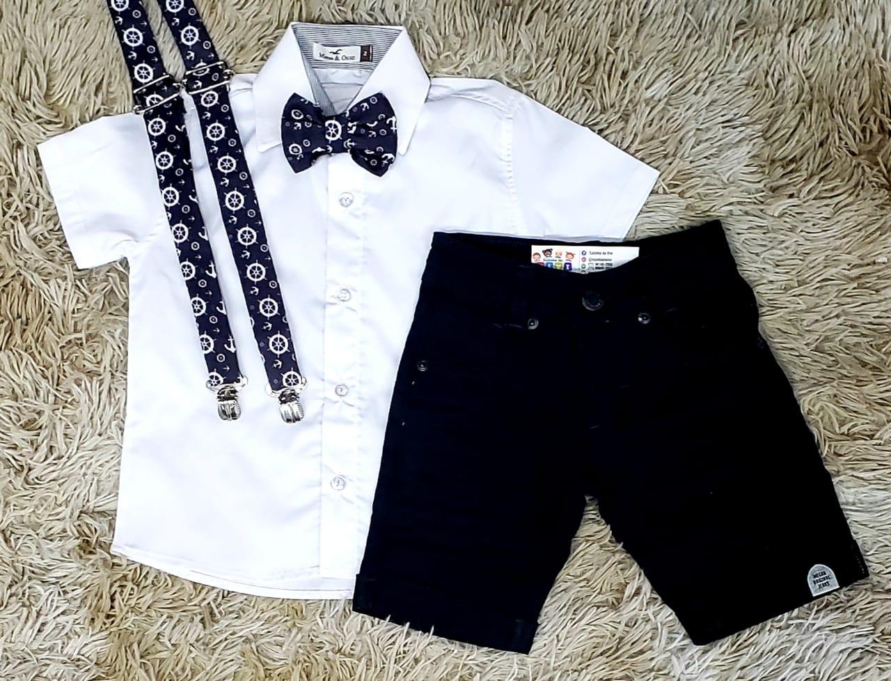 Bermuda Preta e Camisa Social Branca com Suspensório e Gravata Marinheiro