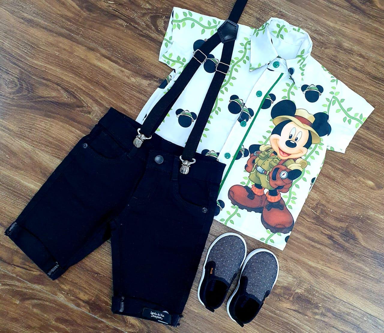 Conjunto Preto Mickey Safari Branca Infantil