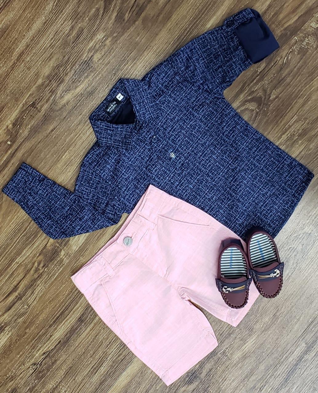 Bermuda Rosa com Camisa Bata