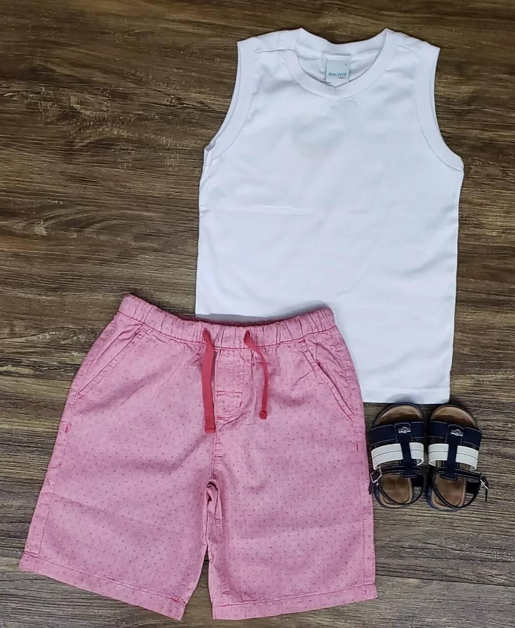 Bermuda Rosa com Regata Branca Infantil