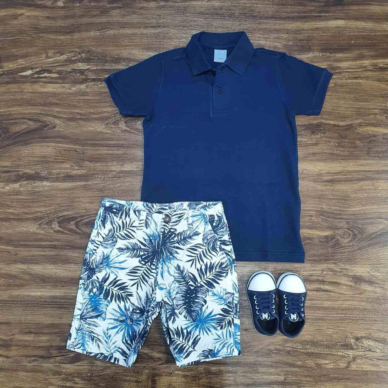 Bermuda Savana com Camisa Polo Infantil