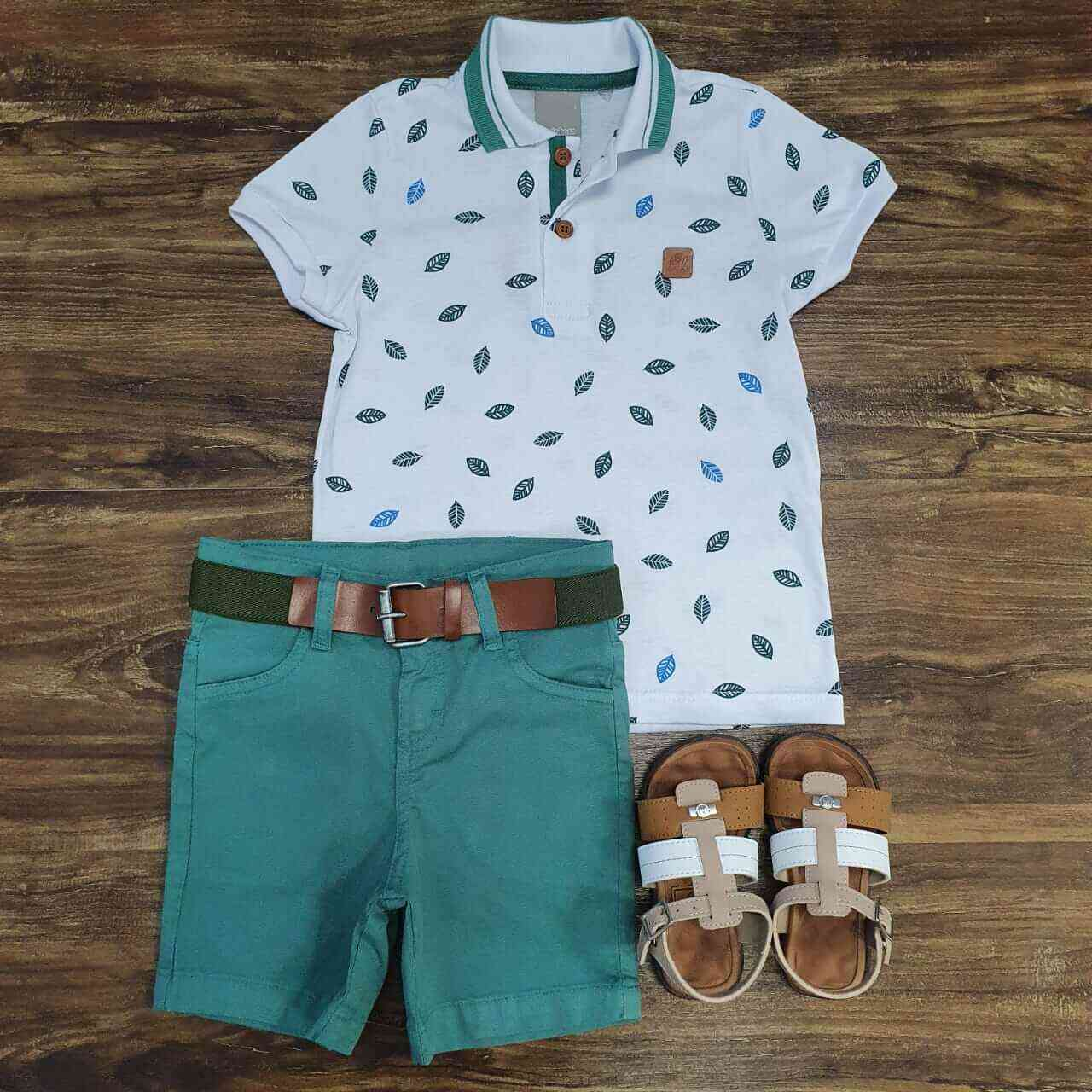 Bermuda Verde com Camisa Polo Branca Infantil