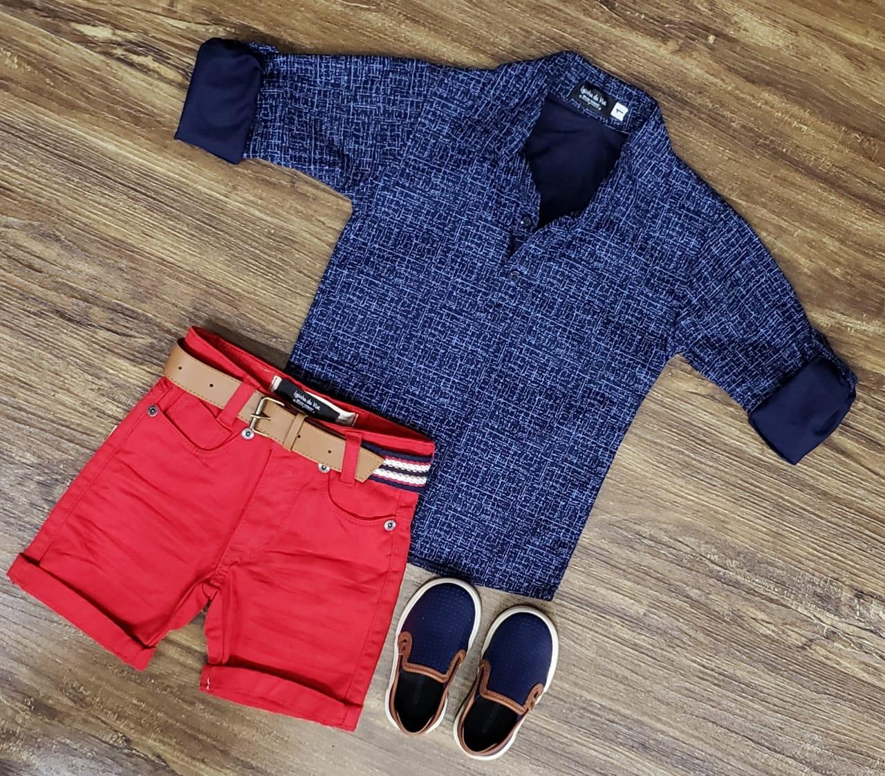 Bermuda Vermelha com Camisa Bata