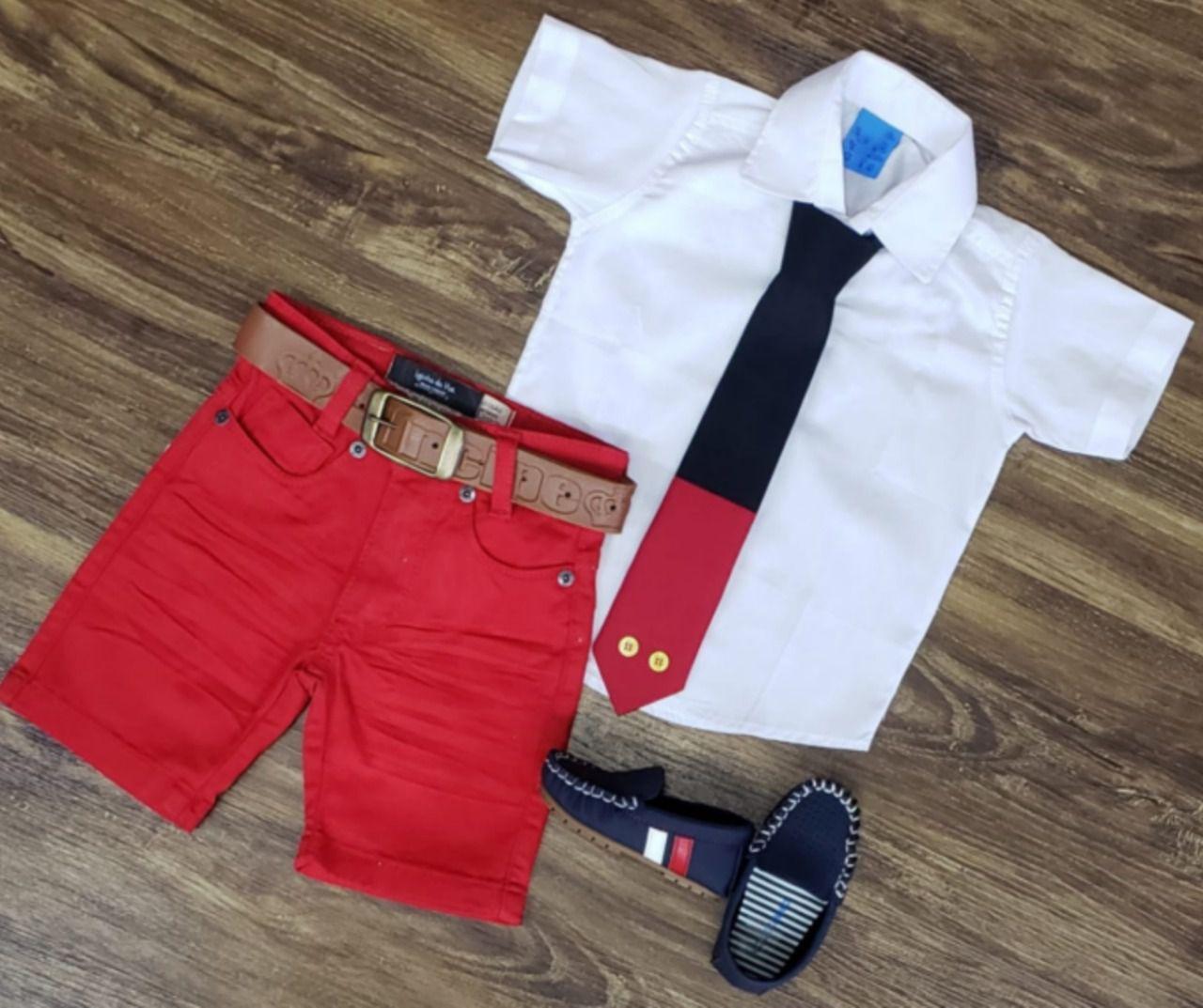Conjunto Vermelho Mickey Básico com Gravata Infantil