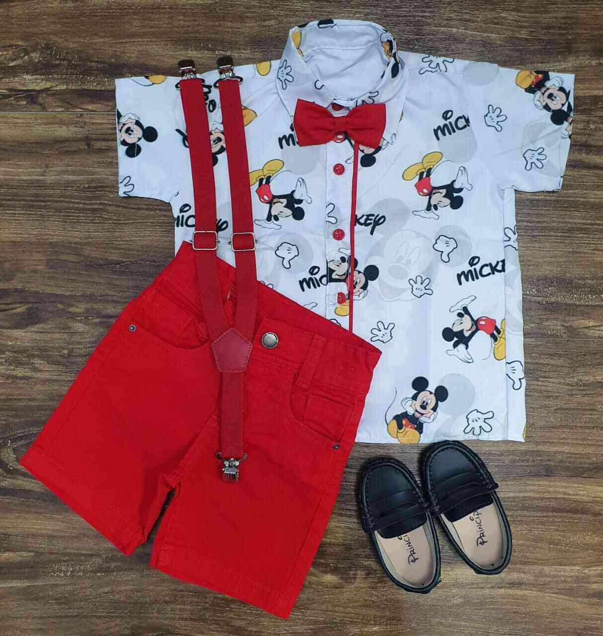 Bermuda Vermelha Com Camisa Mickey Infantil