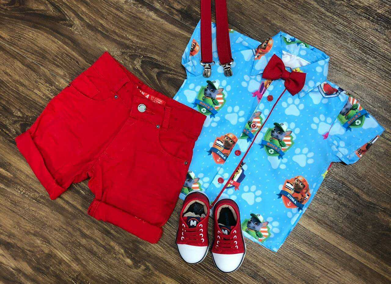 Bermuda Vermelha com Camisa Patrulha Canina Infantil