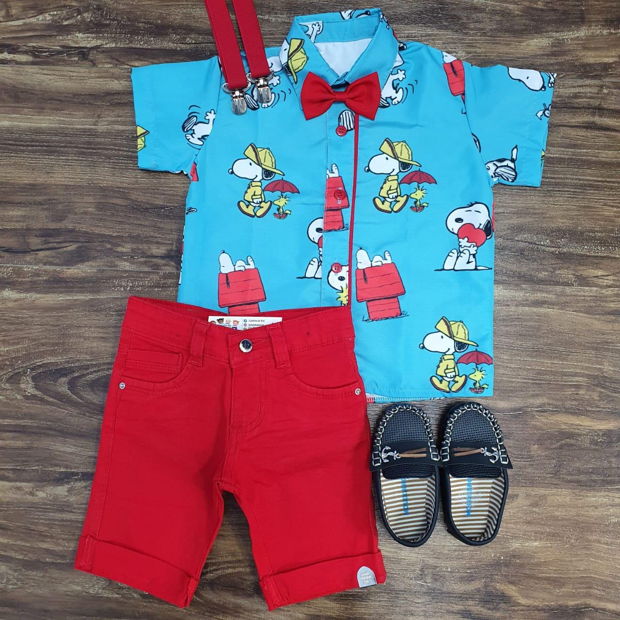 Bermuda Vermelha com Camisa Snoopy Infantil