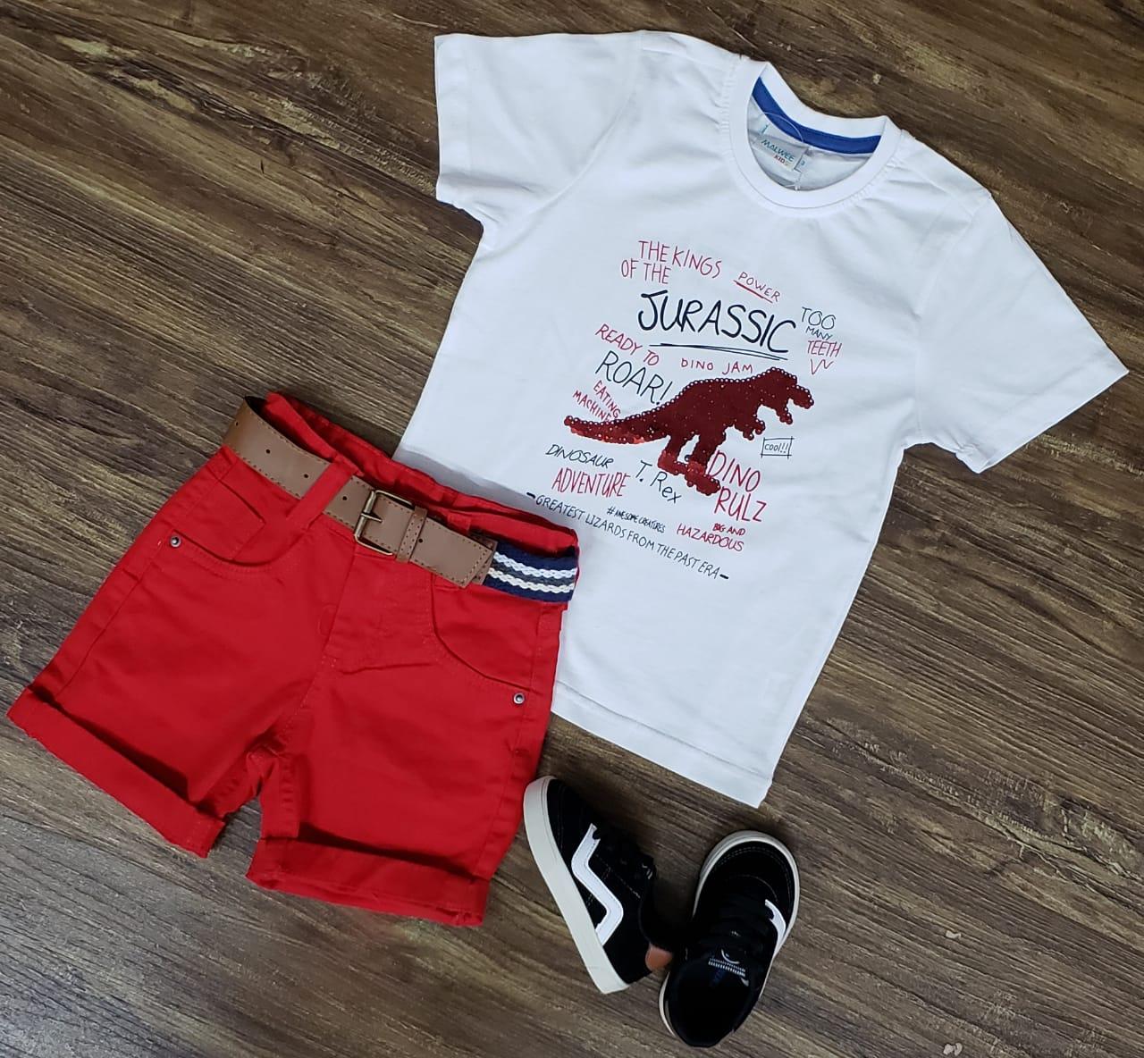 Bermuda Vermelha com Camiseta Dinossauro Paetê Mágico