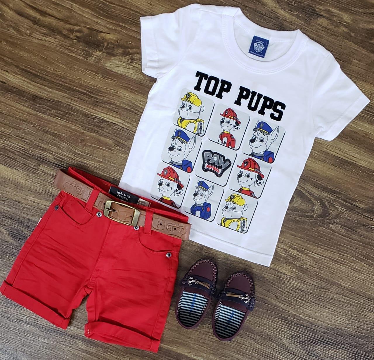 Bermuda Vermelha com Camiseta Patrulha Canina