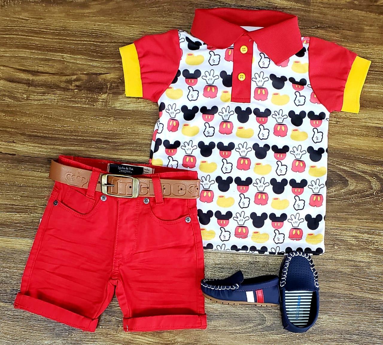 Roupa Mickey Tradicional Vermelho Infantil