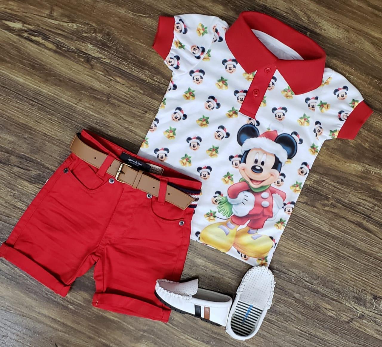 Roupa Polo Mickey Natal Infantil