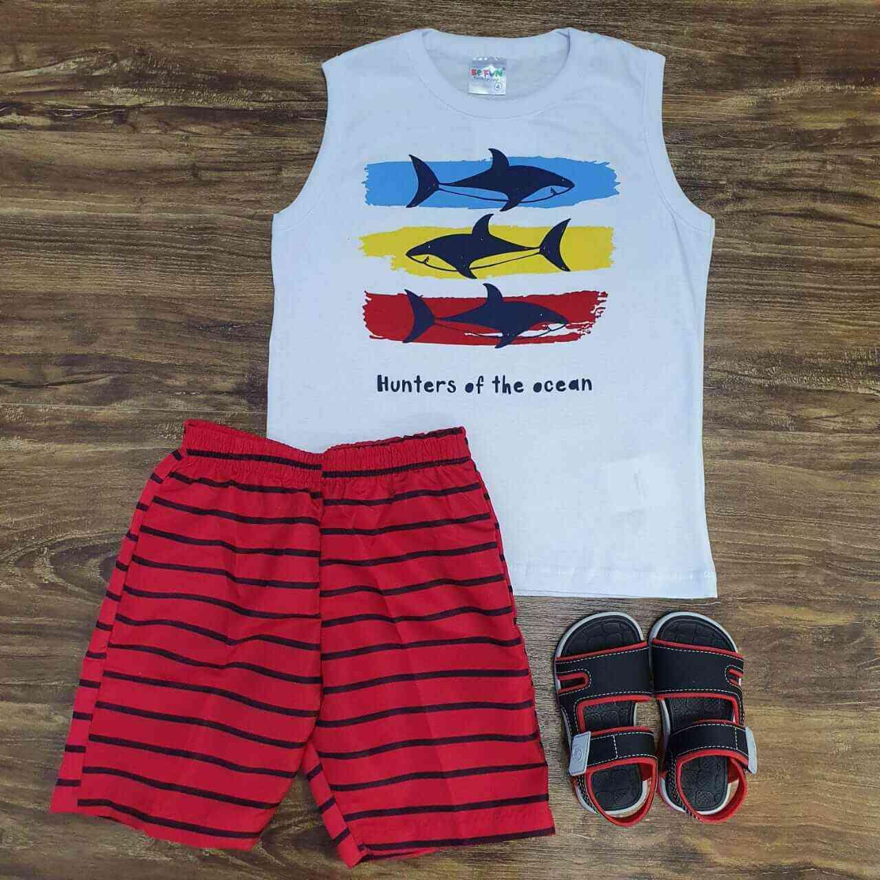 Bermuda Vermelha com Regata Branca Infantil