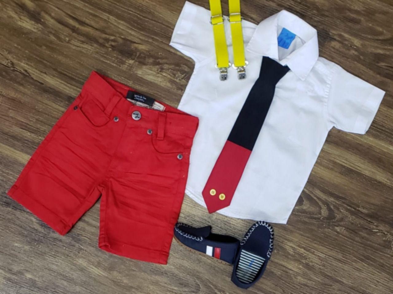 Conjunto Mickey Básico Branco com Suspensório Infantil