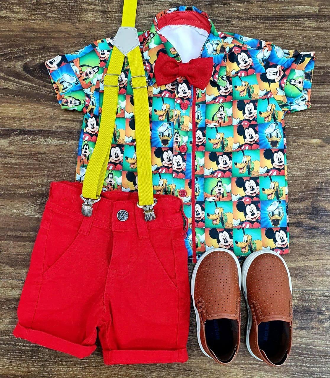 Bermuda Vermelha com Suspensório e Camisa Mickey com Gravata - Look Mickey