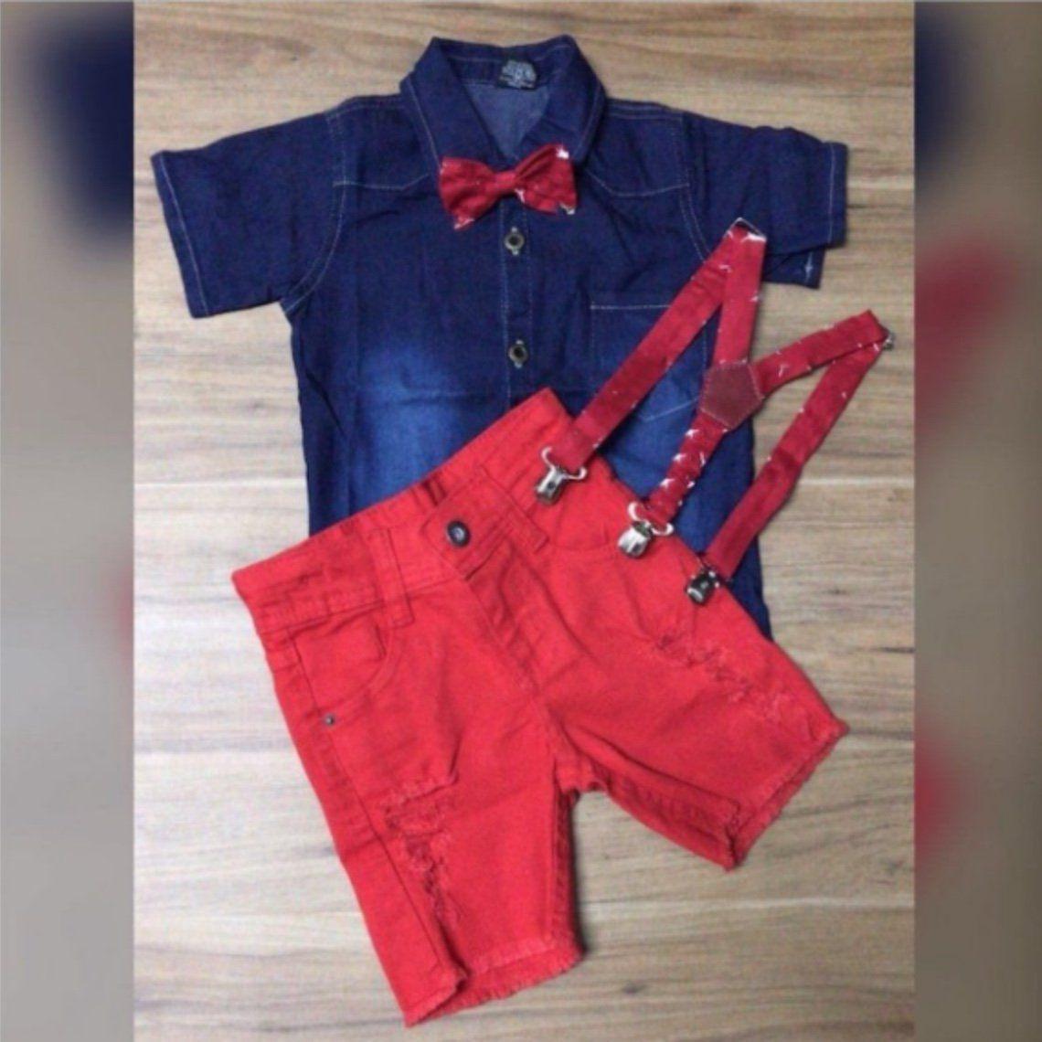 Bermuda Vermelha Destroyer com Suspensorio e Camisa Jeans com Gravata Borboleta