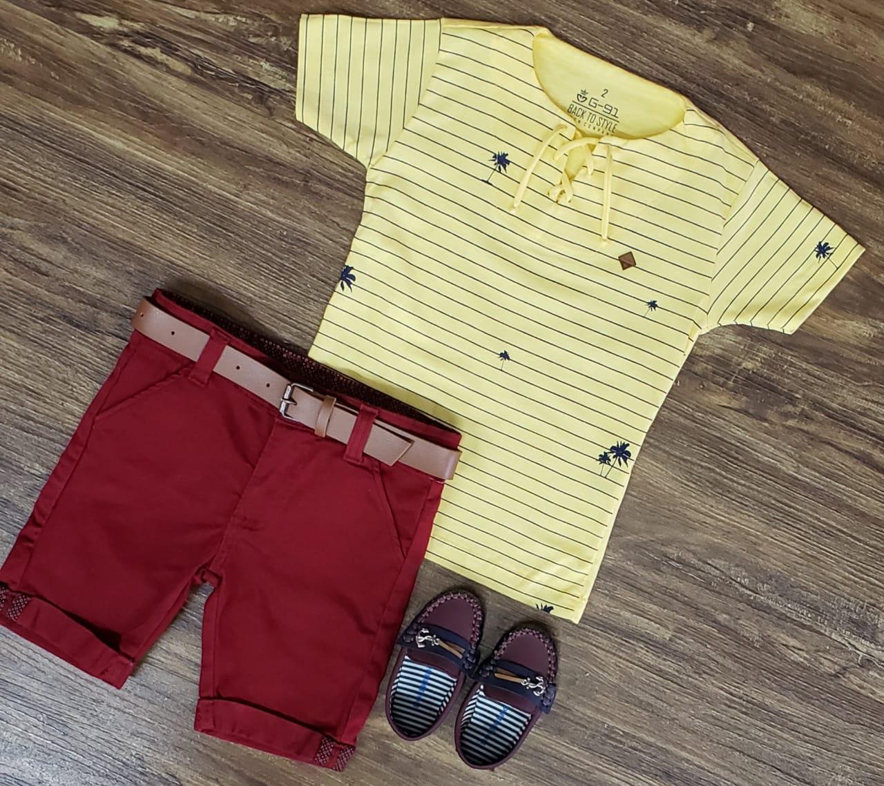 Bermuda Vinho com Camiseta Bata Amarela