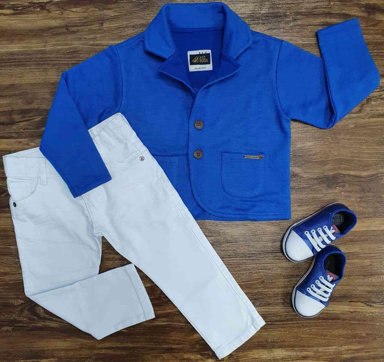 Blazer Azul com Calça Jeans Branca Infantil