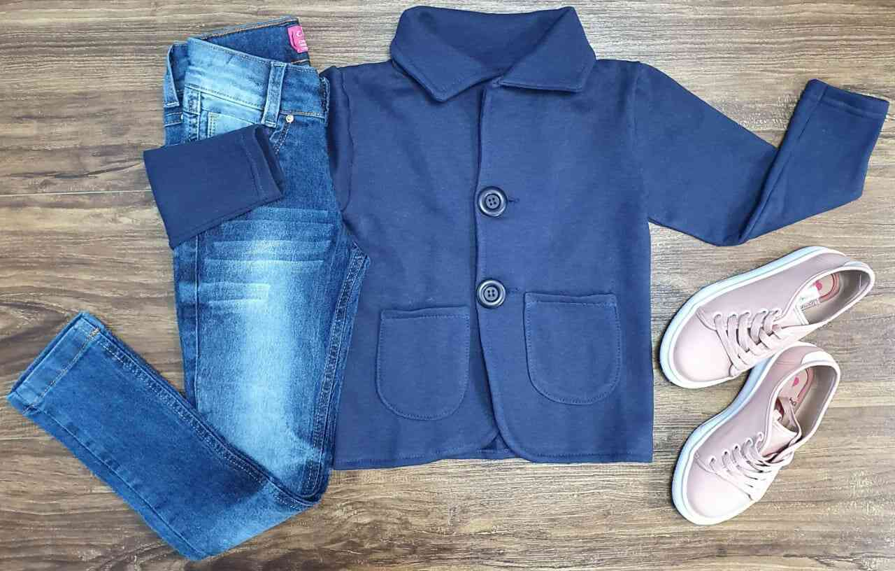 Blazer Azul Marinho com Calça Jeans Infantil