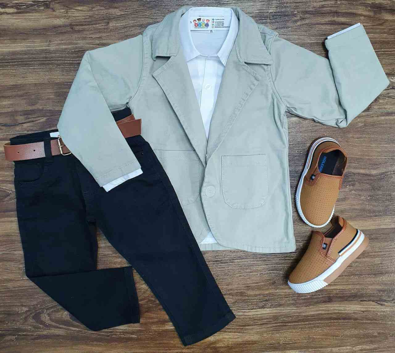 Blazer com Camisa Social e Calça Jeans Preta Infantil