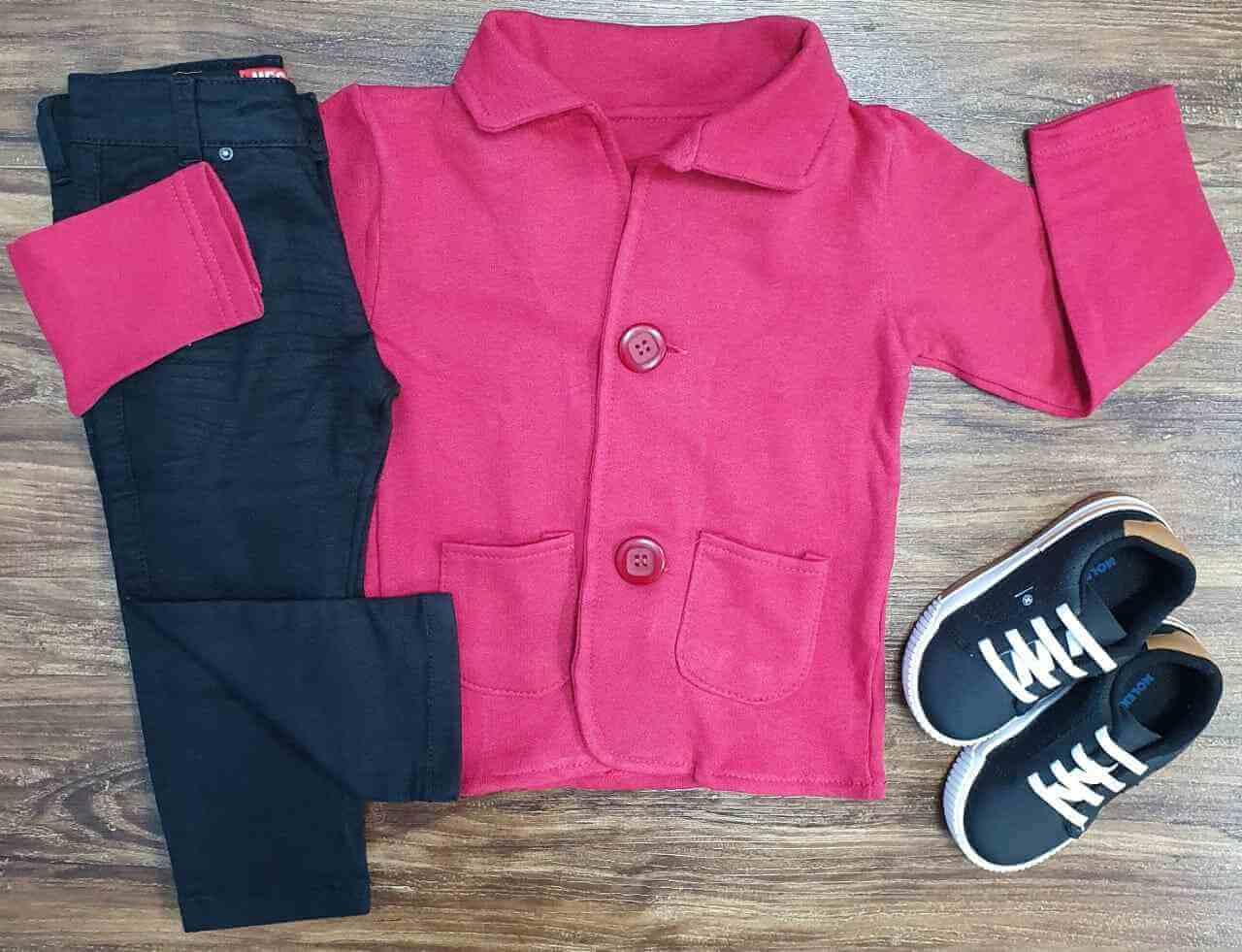 Blazer Vermelho com Calça Jeans Preta Infantil