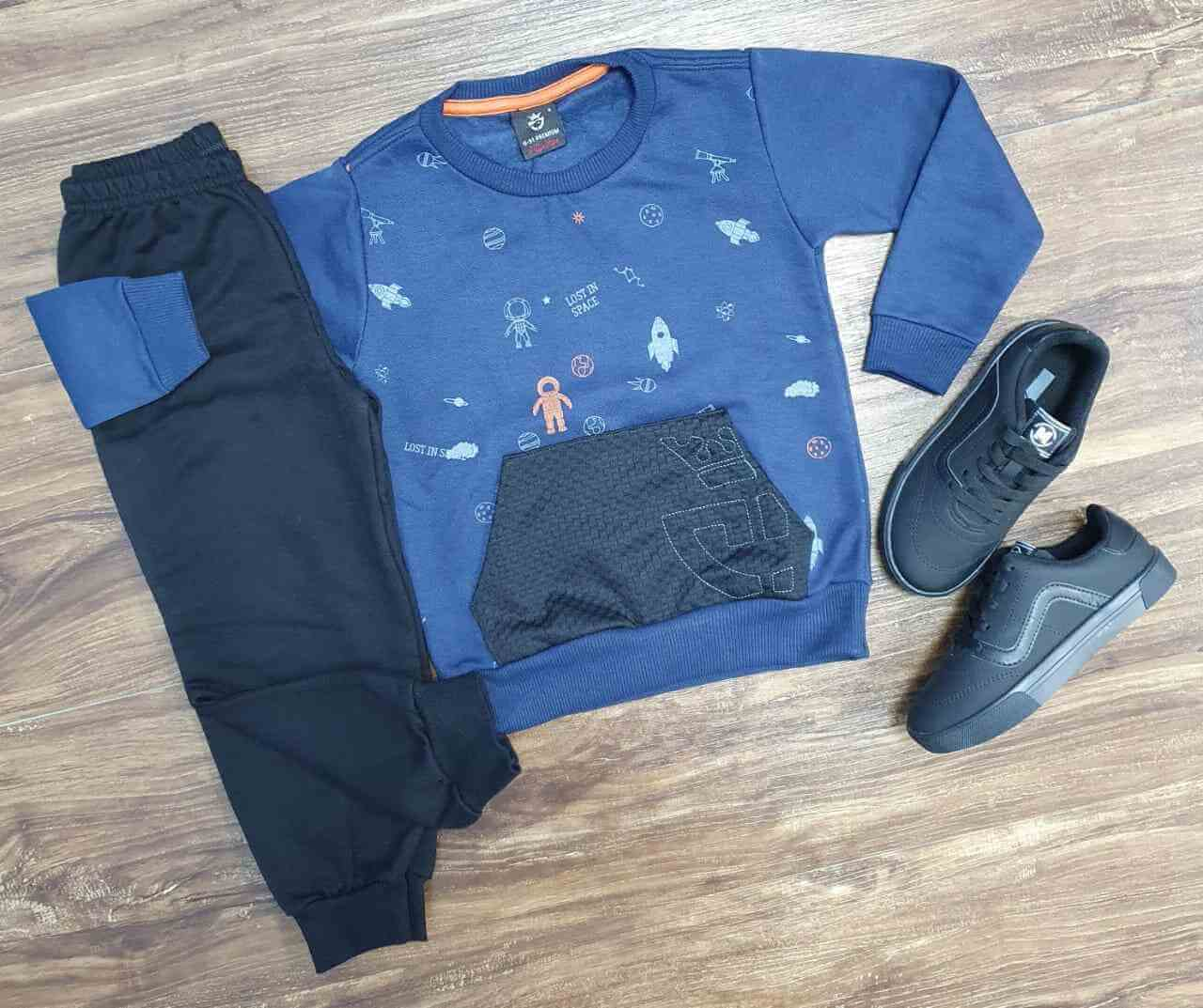 Blusa Astronauta com Calça Moletom Infantil