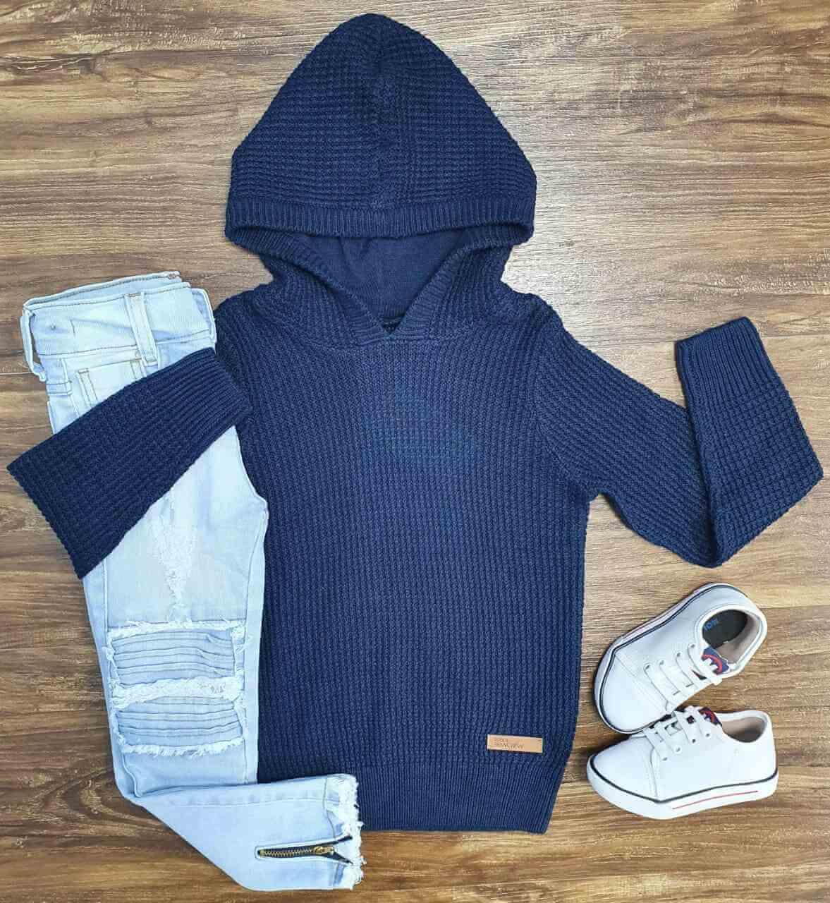 Blusa Azul com Capuz e Calça Jeans Infantil