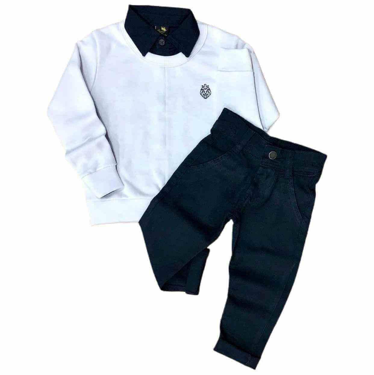 Suéter Branco com Camisa e Calça Jeans Preta Infantil