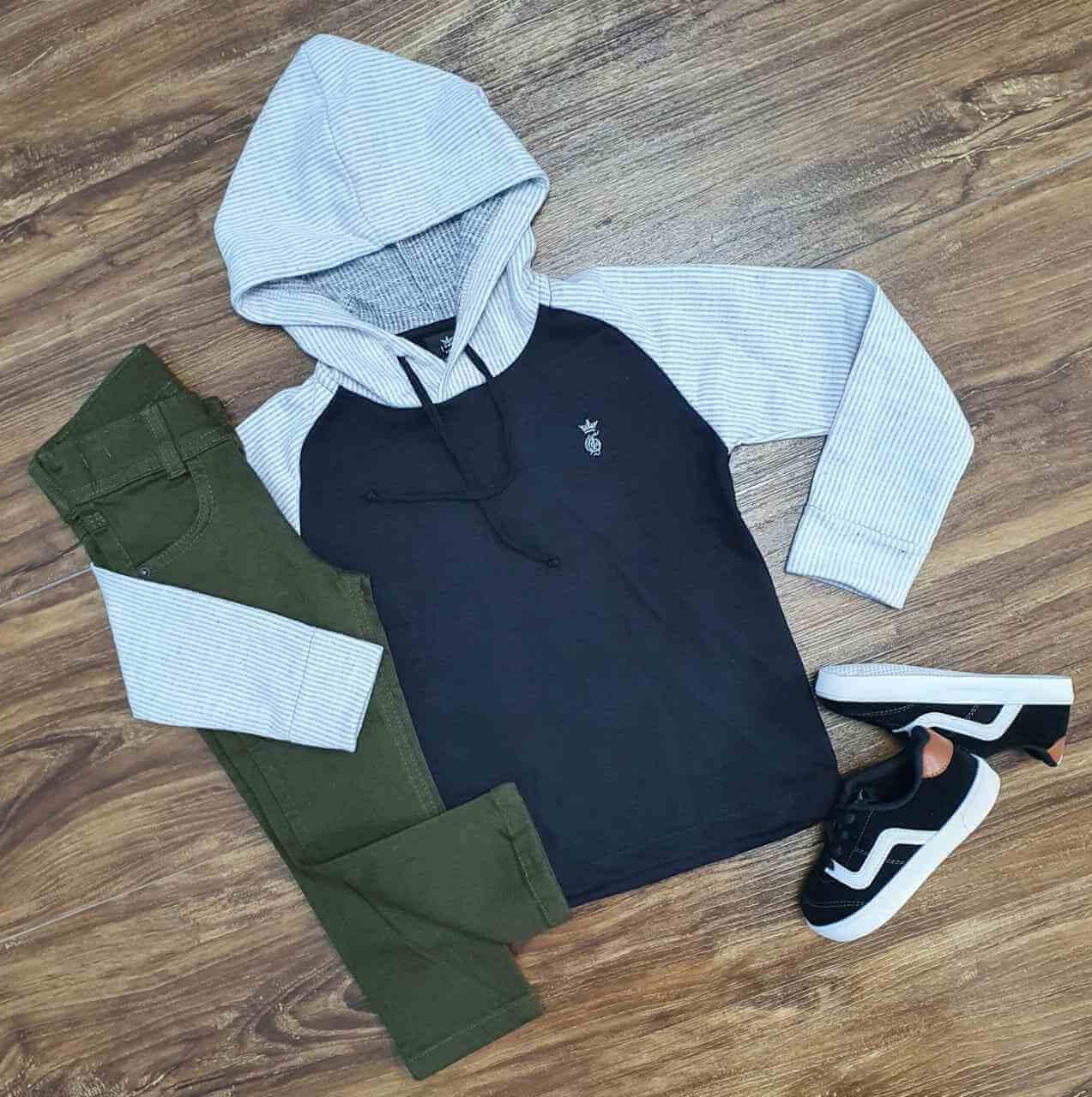 Blusa com Capuz e Calça Jeans Verde Infantil