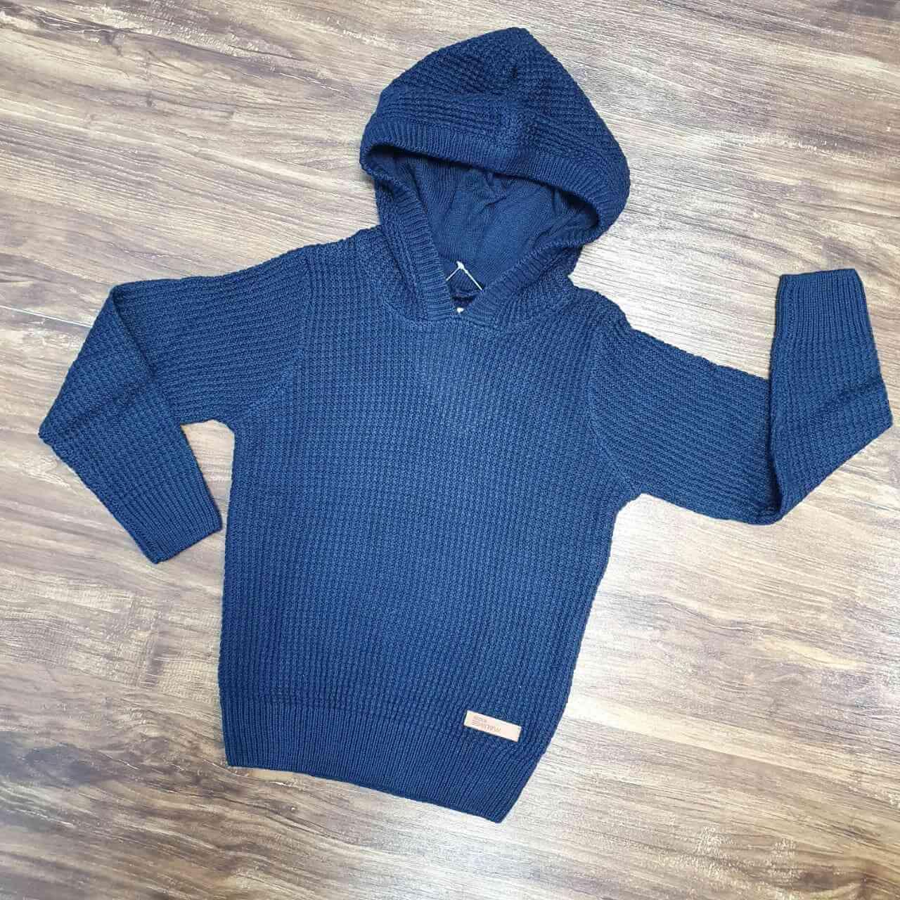 Blusa/Tricot Azul Com Capuz Infantil