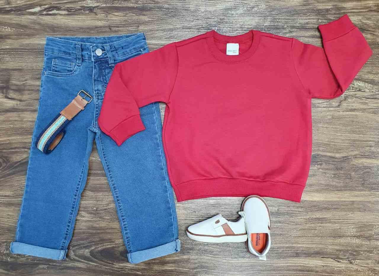 Blusa de Moletom com Calça Jeans Infantil
