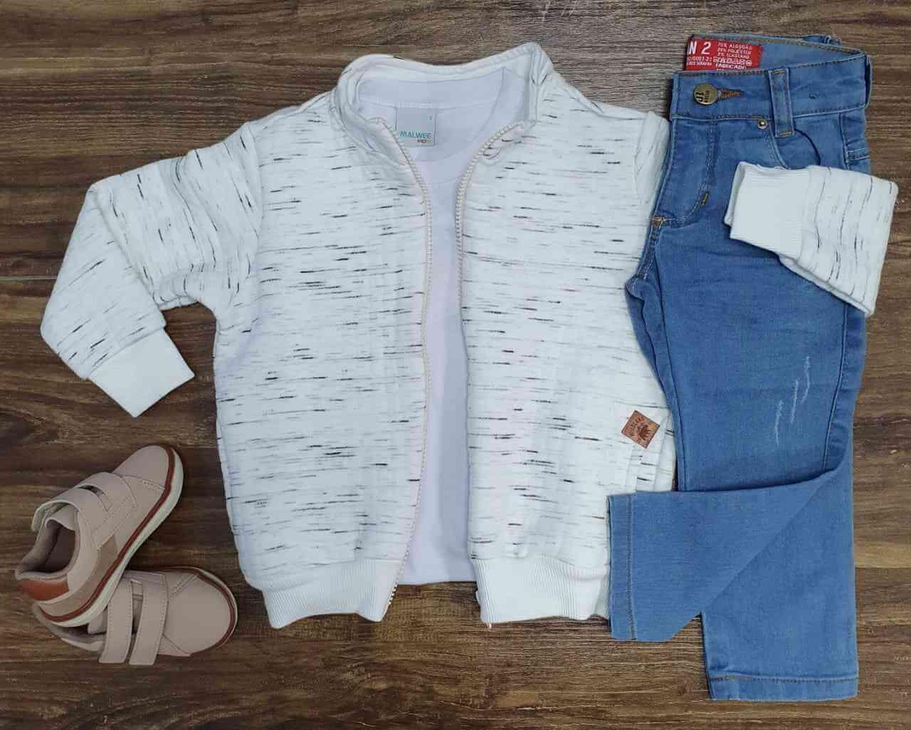 Blusa de Zíper com Camiseta e Calça Jeans Infantil