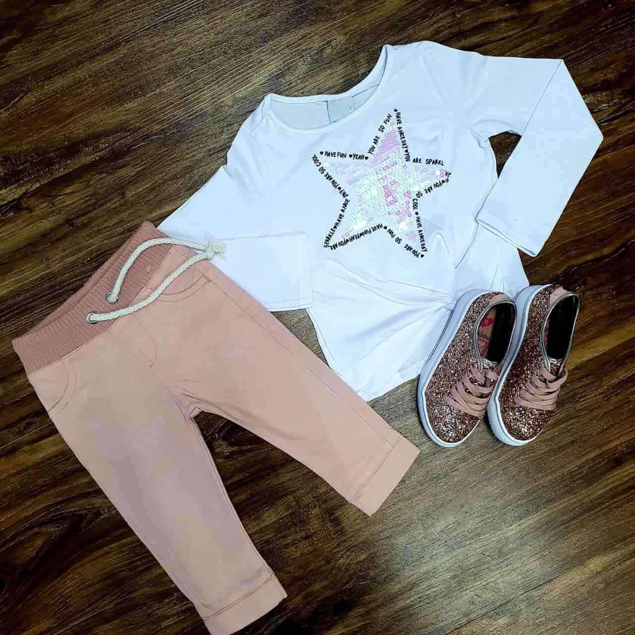 Blusa Estrela com Calça Jogger Infantil