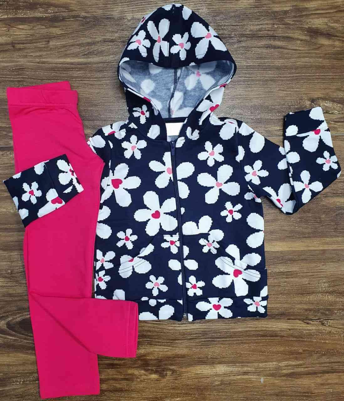 Blusa Flores com Calça Rosa Infantil