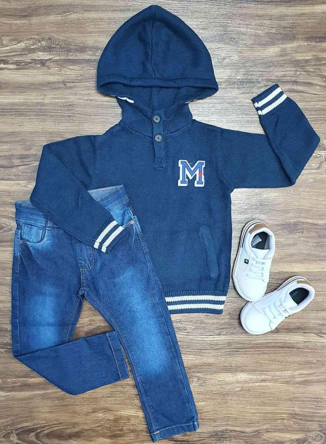 Blusa M Azul Marinho com Calça Jeans Infantil