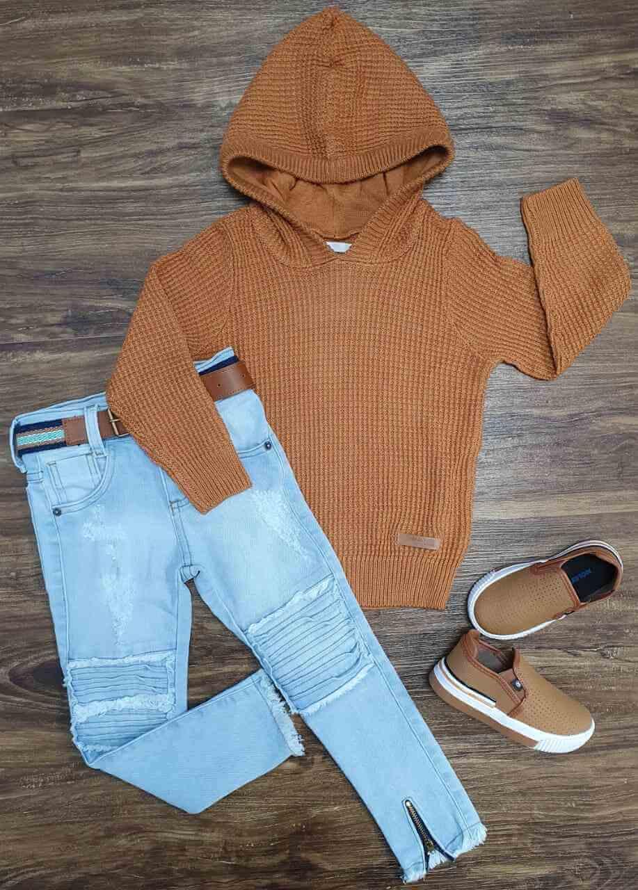 Blusa/Tricot Marrom com Calça Jeans Infantil