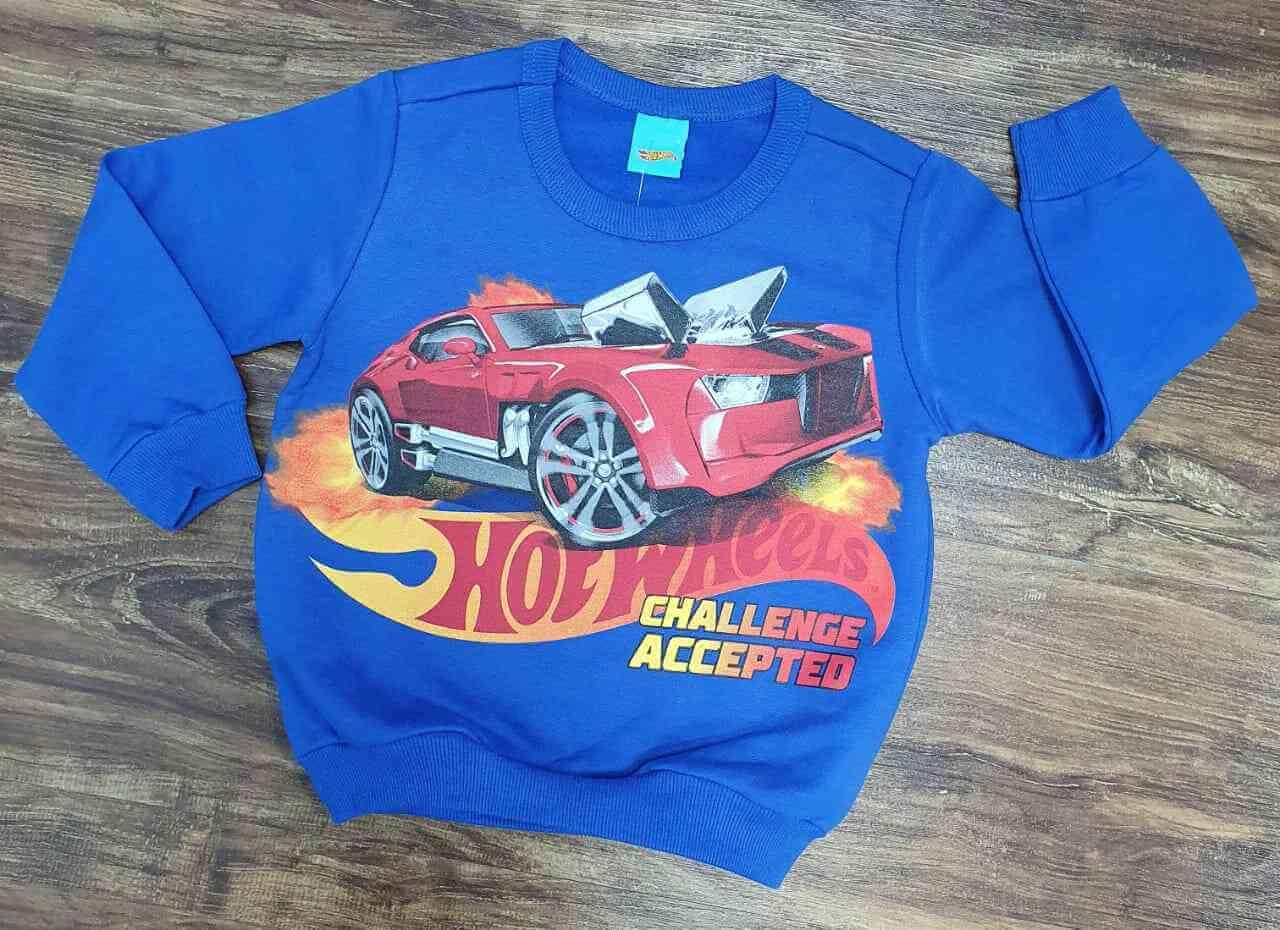 Blusa Moletom Azul Hot Wheels