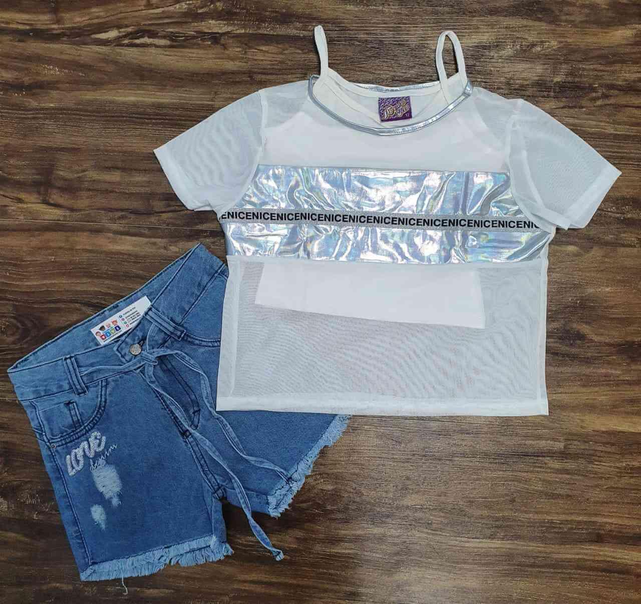 Blusa Nice com Shorts Jeans Infantil