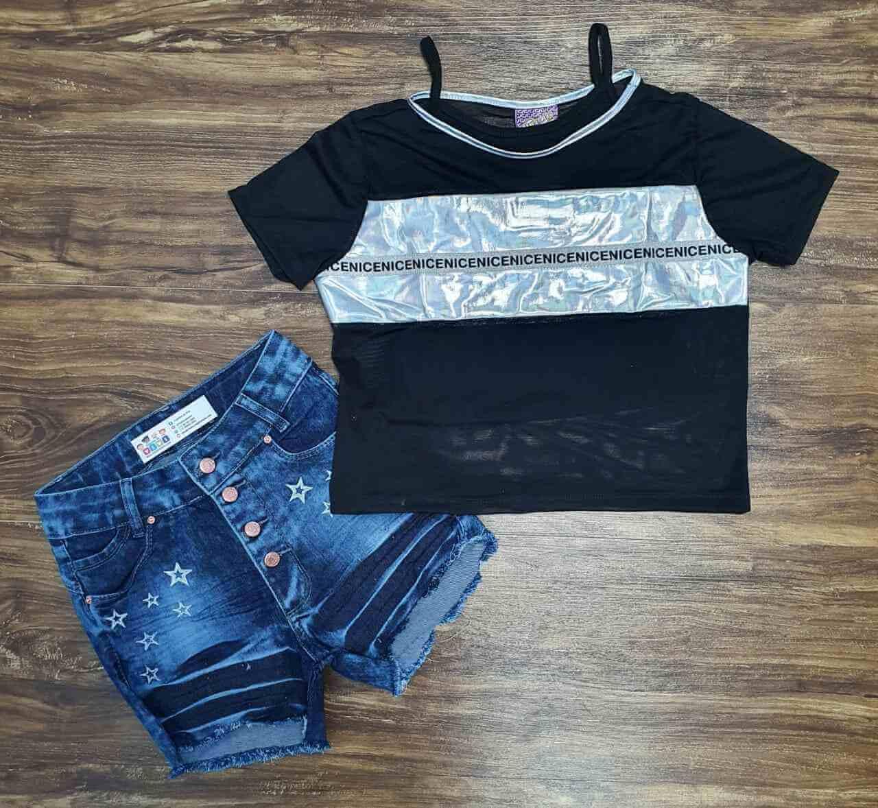 Blusa Nice mais Top com Shorts Infantil