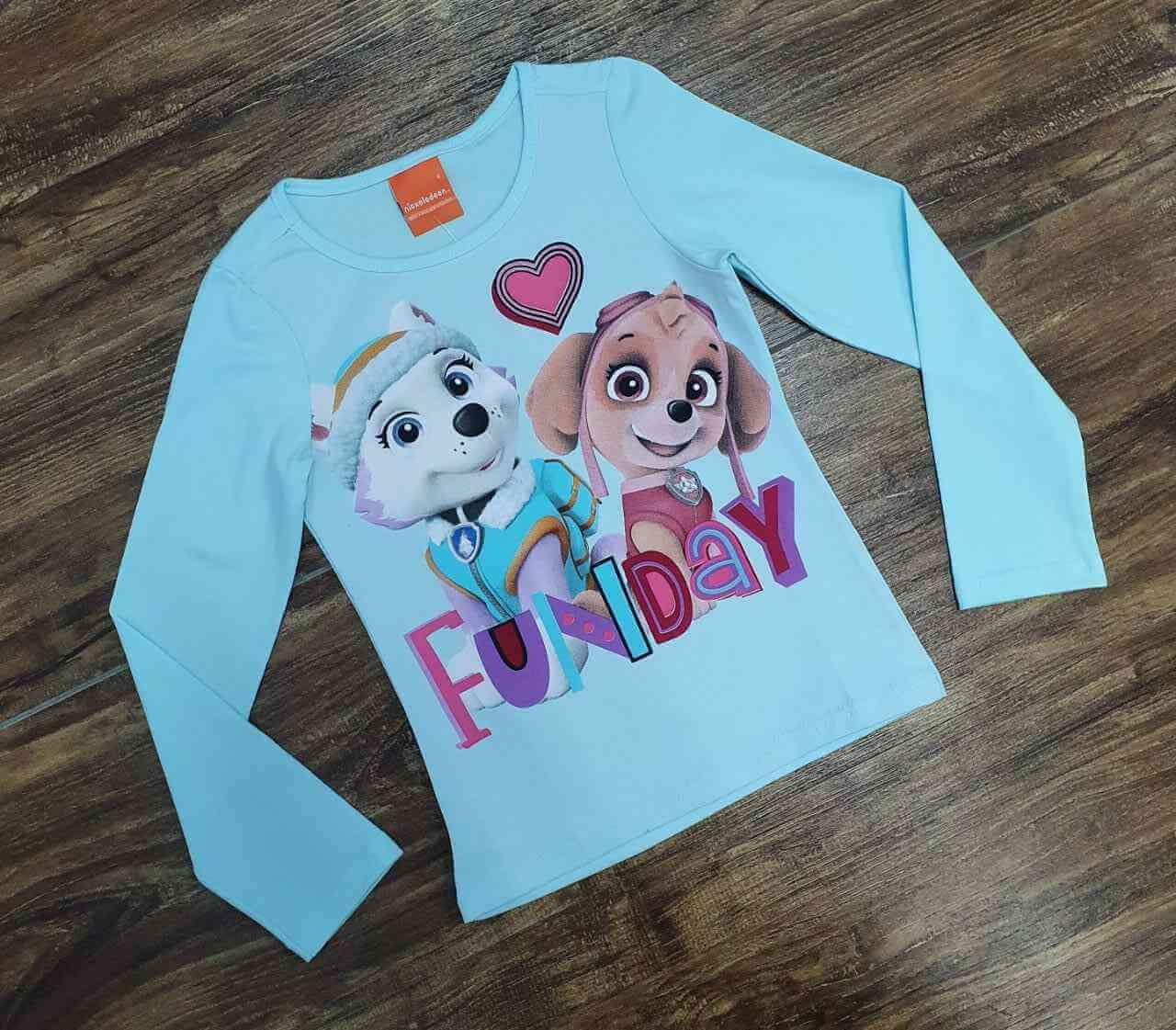 Camiseta Manga Longa Azul Patrulha Canina Infantil
