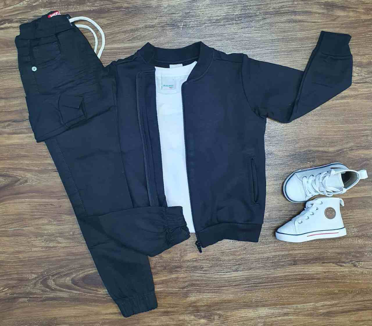 Jaqueta Preta com Camiseta e Calça Jogger Infantil