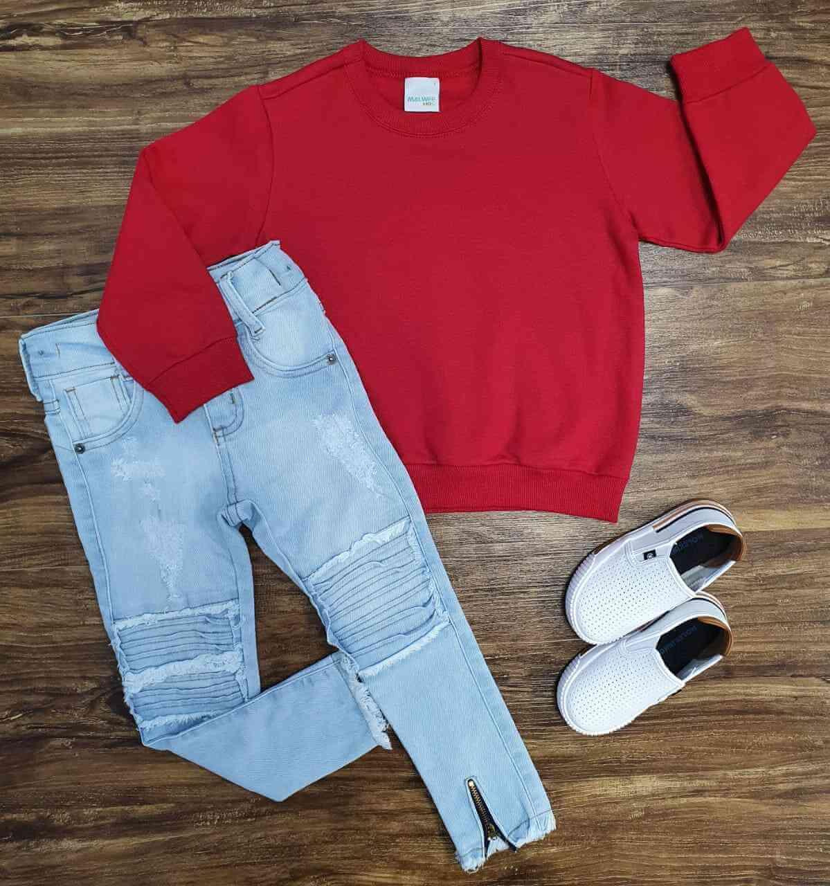 Blusa Vermelha com Calça Jeans Infantil
