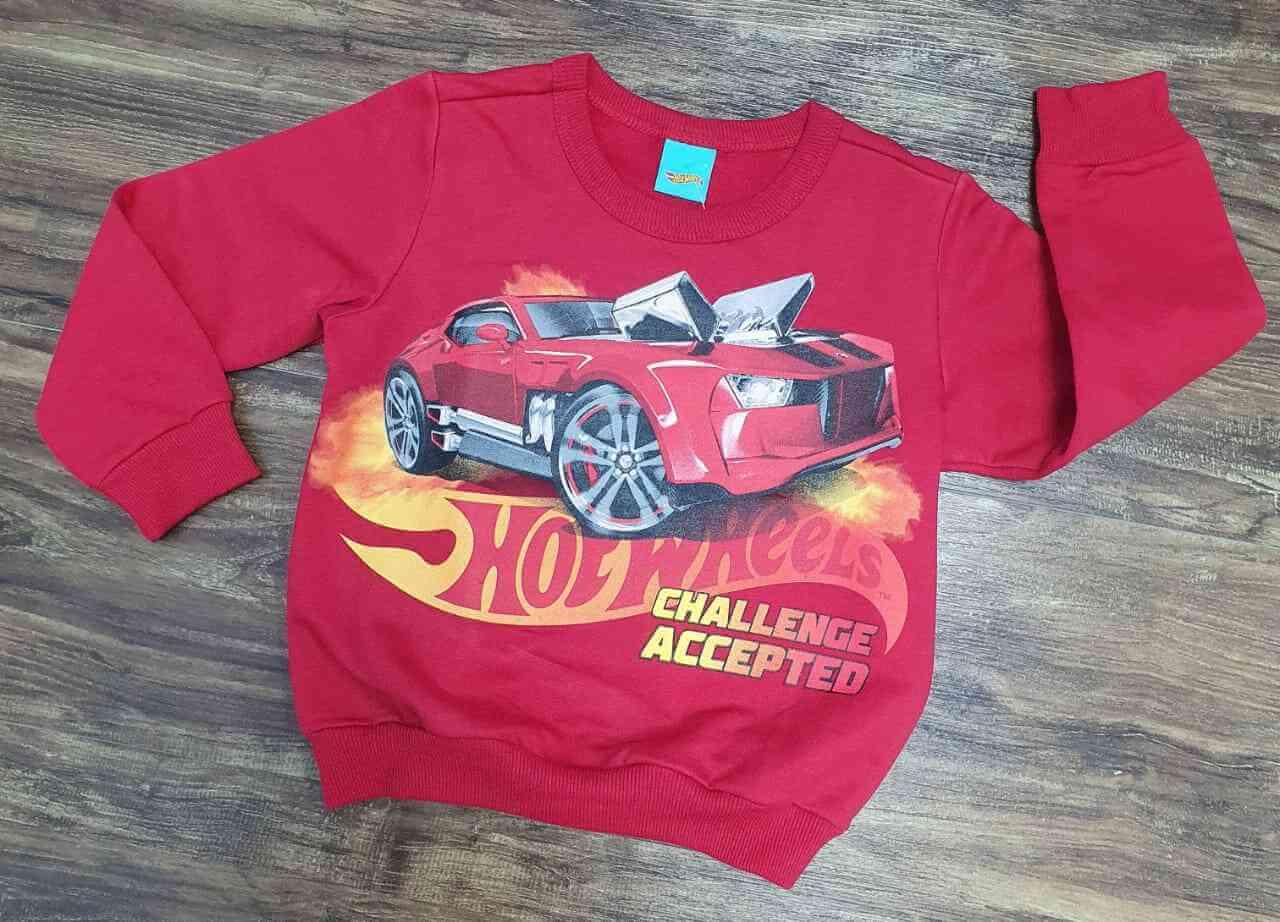 Blusa Moletom Vermelha Hot Wheels Infantil