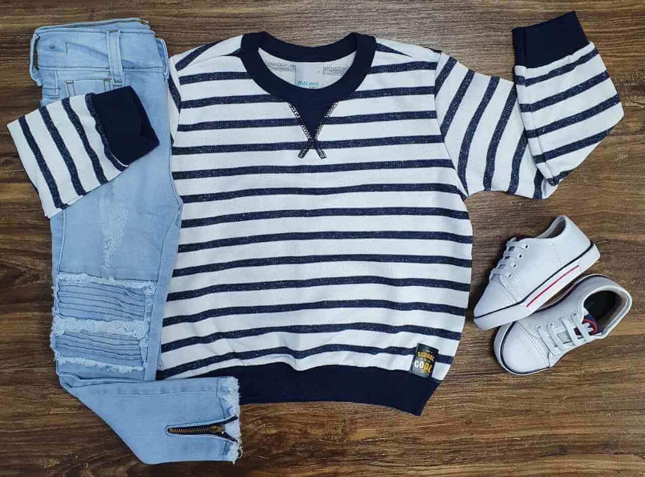 Blusão Listrado com Calça Jeans Infantil