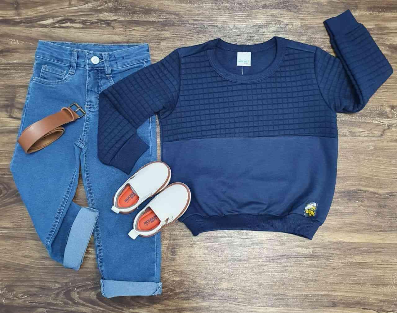 Blusão School com Calça jeans Infantil