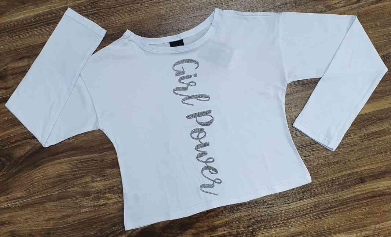 Blusinha Branca Girl Power Infantil