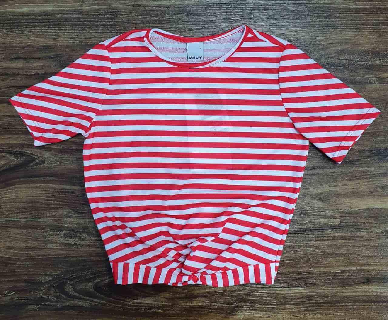 Blusinha Listrada Vermelha e Branca Infantil