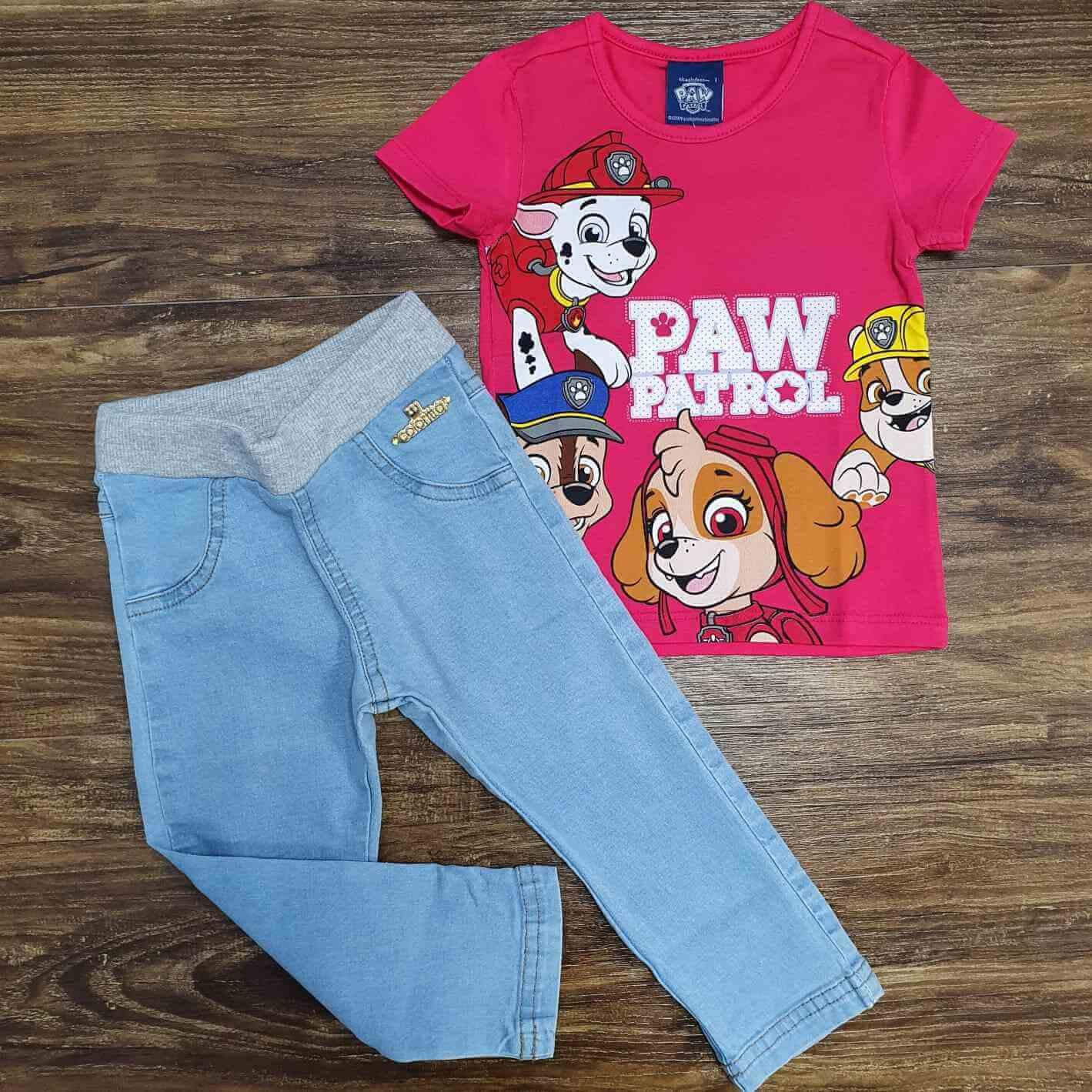 Blusinha Paw Patrol Com Calça Jeans Infantil