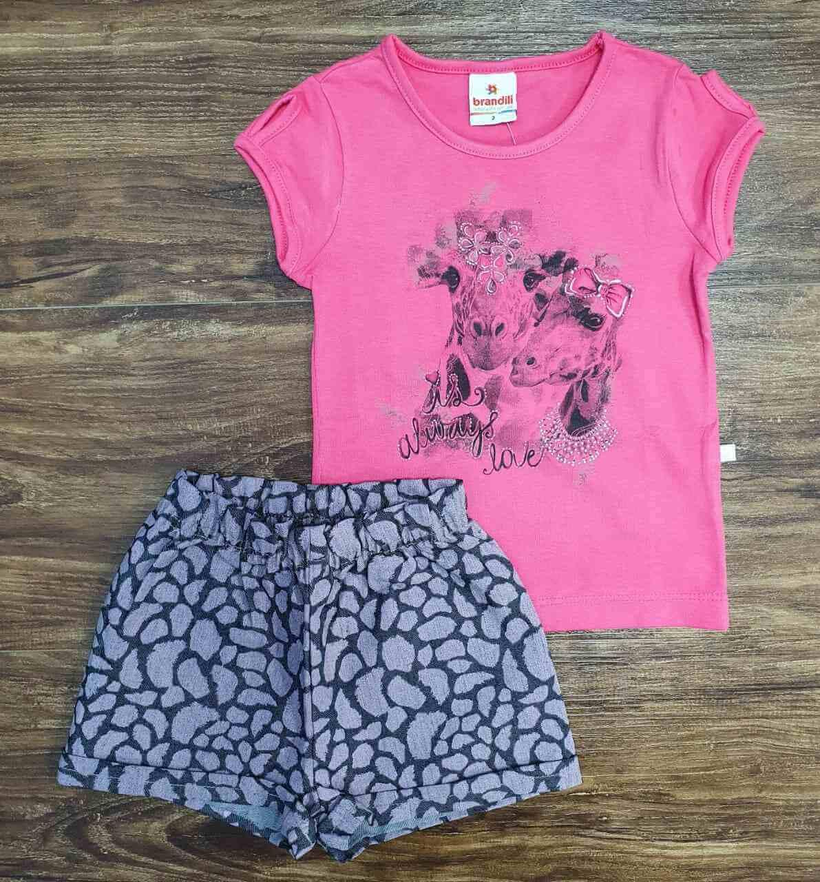 Blusinha Rosa Always com Shorts Infantil