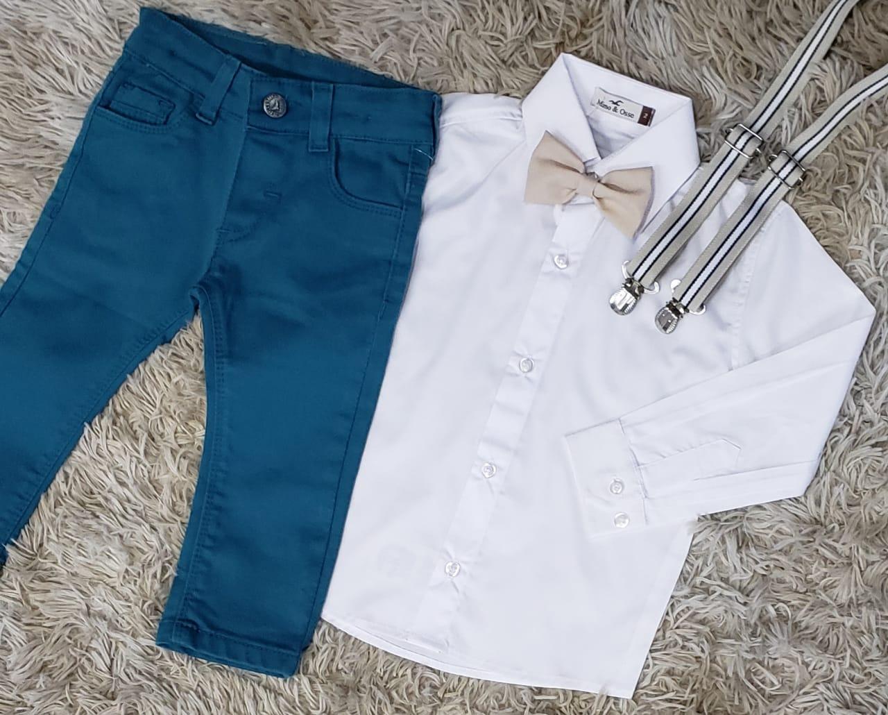 Calça Azul Petróleo com Suspensório e Camisa Social com Gravata