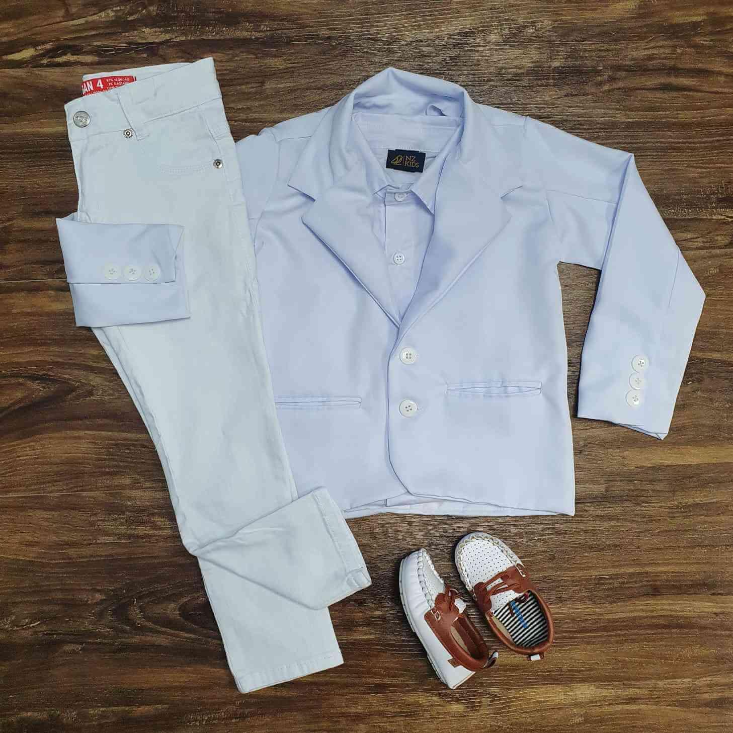 Calça Branca com Camisa e Blazer - Look Batizado